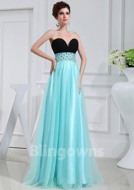 Sweetheart Zipper Tulle Blue Crystals Floor Length Sleeveless A-line Evening / Prom Dresses