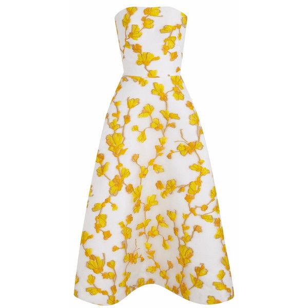 The 2nd Skin Co White And Yellow Floral Strapless Dress (£1,400) ❤ liked on Polyvore featuring dresses, gowns, vestidos, white dress, yellow gown, strapless gown, white evening gowns and midi dress