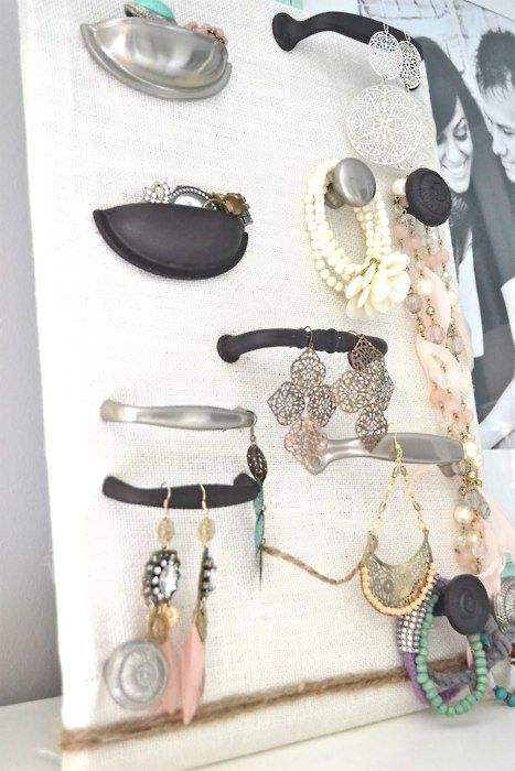 Great DIY jewelry storage... would be amazing using drawer pulls from Anthropologie or flea markets