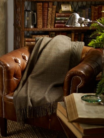 Abbingdon Plaid Blanket~ a wool Glen plaid bedding is given a sportier sensibility rendered in an olive and brown palette.