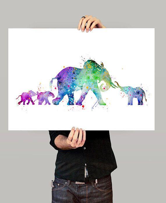 Olifant aquarel Print Elephant Art Print aquarel door FineArtCenter