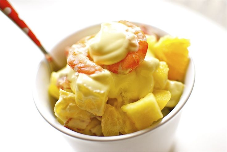 Russian salad with king prawns and pineapple