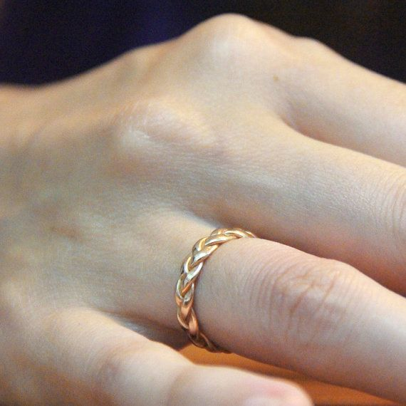 Braided Solid Yellow Gold Wedding Ring, Alternative Wedding Ring, Anneau Tresse, Marriage Commitment Jewelry