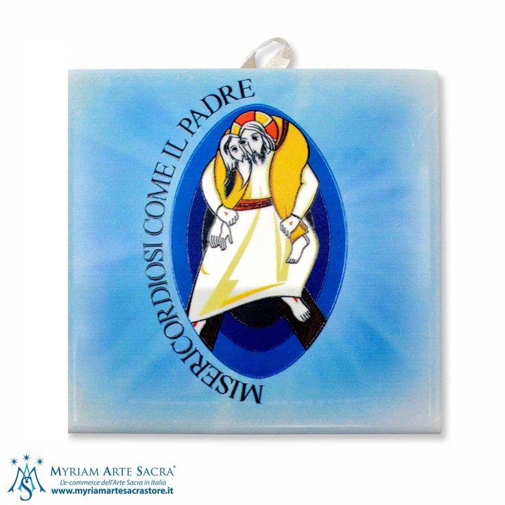 Quadretto da parete con logo del Giubileo della Misericordia realizzato in ceramica con fondo blu. Made in Italy.   Misure: H 9,5 cm L 9,5 cm