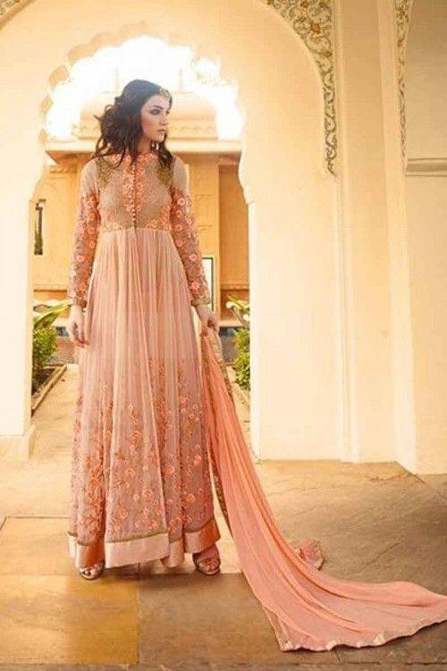 costume couleur orange clair georgette Anarkali