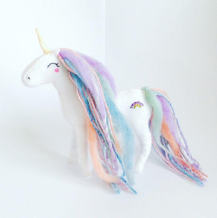 Mermaid Rainbow Adult Unicorn, Made To Order, Felt Unicorn Ornament, Fabric Doll, Baby Shower Gift, White Unicorn by…