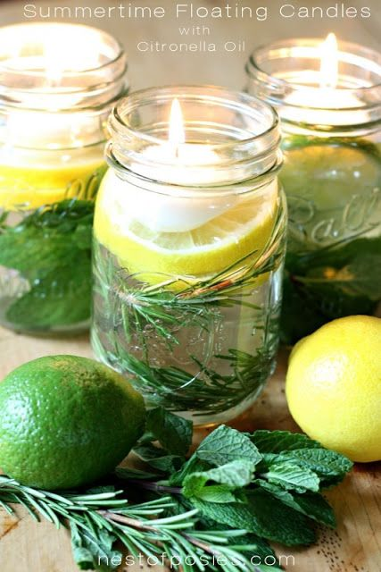 Fill mason jars with mint, lemon, lime, rosemary, citronella bug off oil and water. Top with floating candles