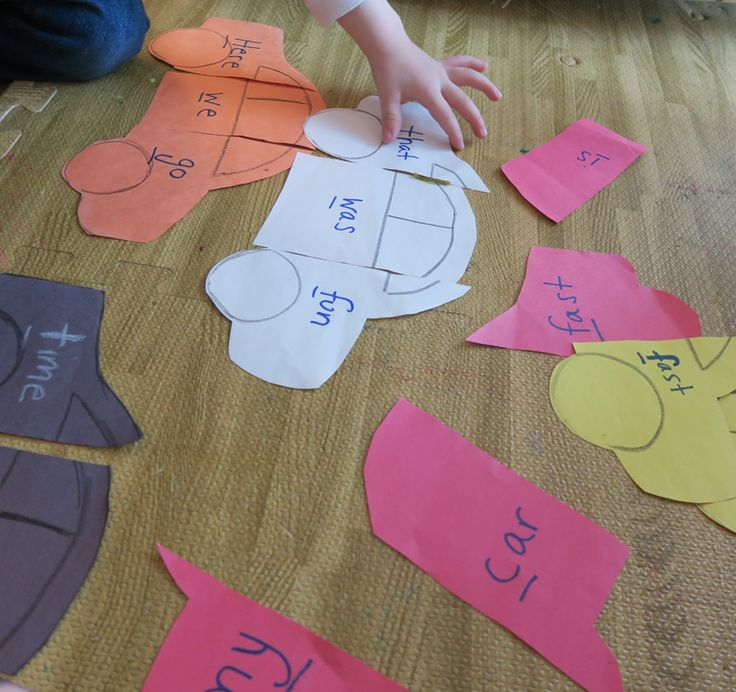 Toddler + Car Puzzle Word activity #DIY #puzzle #constructionpaper