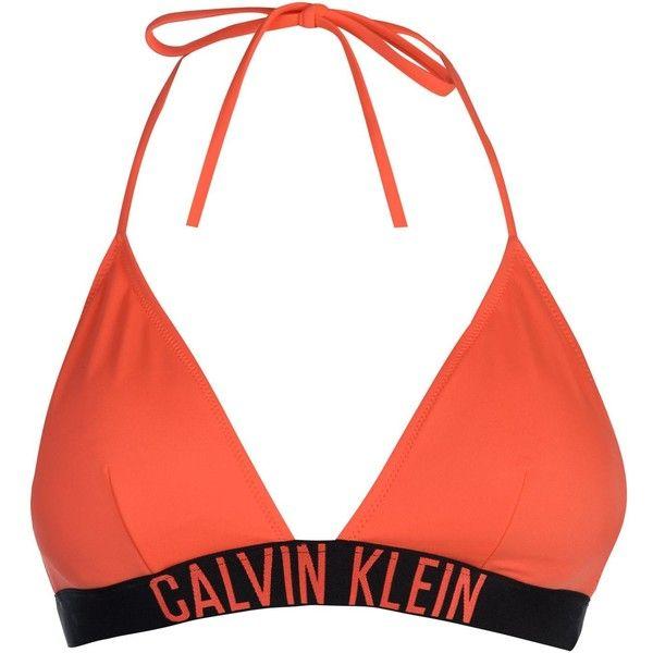Calvin Klein Intense Triangular Bikini Top ($51) ❤ liked on Polyvore featuring swimwear, bikinis, bikini tops, swim, strappy swim top, swimsuit tops, tankini tops, swim tops and seashell bikini top