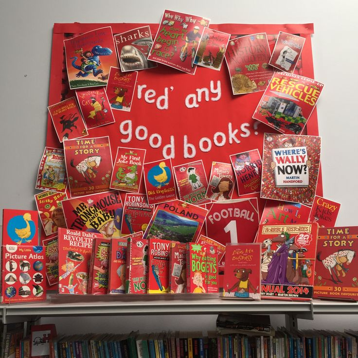 'Red any good books?' Library Display