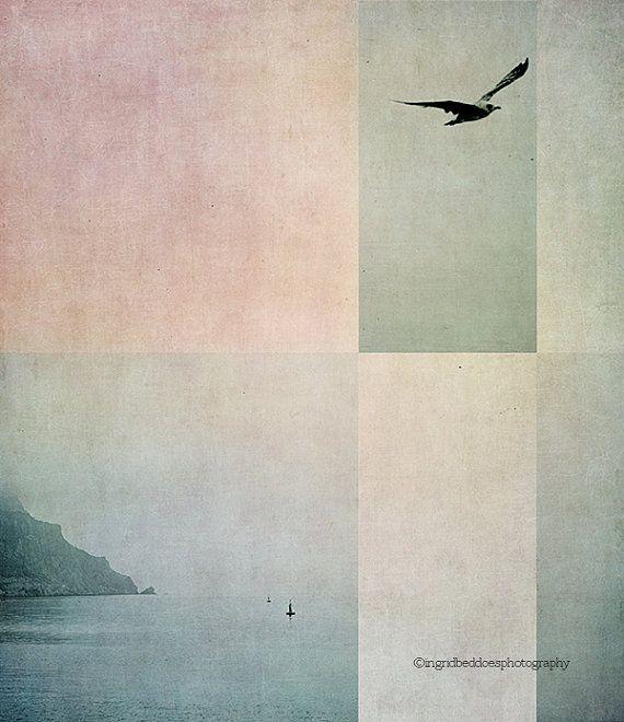Impresión de océano, fotografía de mar, abstracta ocean y aves arte grabado, paisaje foto, montaña, naturaleza, decoración costera, decoración casera, decoración de la pared