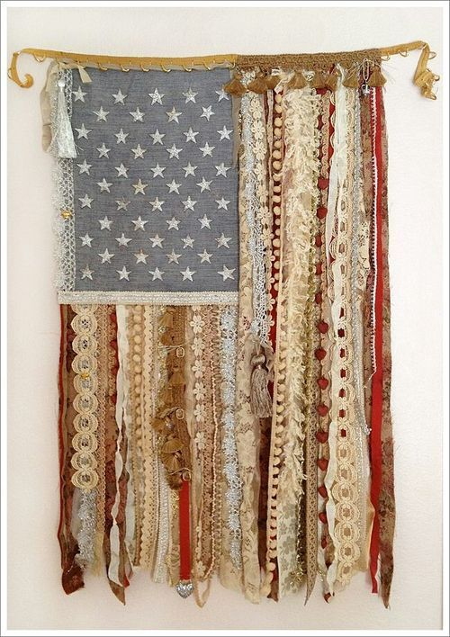 American Flag out of remnants - 4th of July Food, Drink, Decoration and Outfit Ideas @ www.thriveorsurvive.us