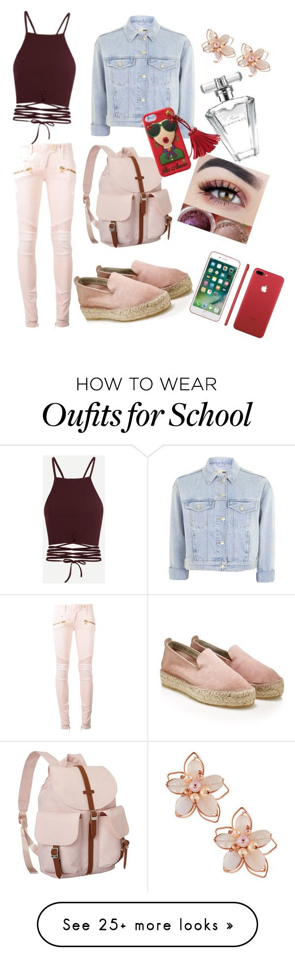 """Outfit #ootd"" by tinkerangel on Polyvore featuring Topshop, Balmain, Herschel Supply Co., NAKAMOL and Avon"