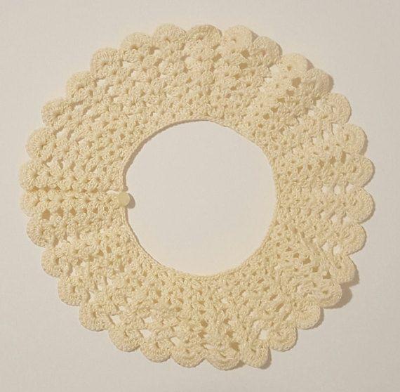Crochet Collar Vintage Crochet Collar Ecru Crochet by TavinsChoice