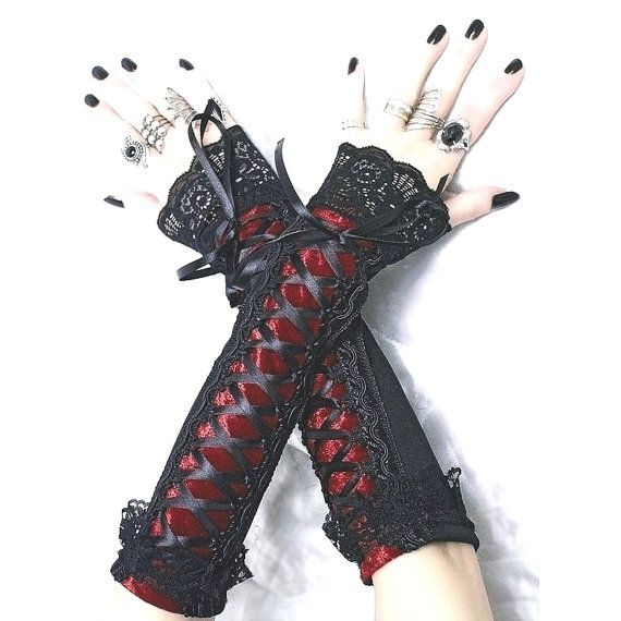 long fingerless gloves arm warmers in gothic by FashionForWomen. https://www.etsy.com/listing/209575833/long-fingerless-gloves-arm-warmers-in?ref=shop_home_active_4