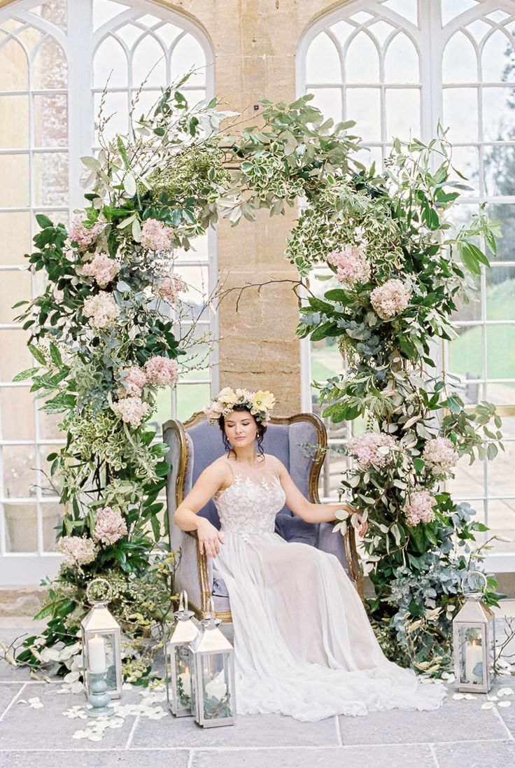 Floral Flower Arch Greenery Foliage Ethereal Soft Fine Art Wedding Ideas http://lizbakerphotography.co.uk/