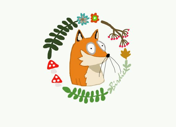 Mr fox part of a series of woodland illustrations by Birdie art and illustration.  A digital copy of my make a wish illustration, can be