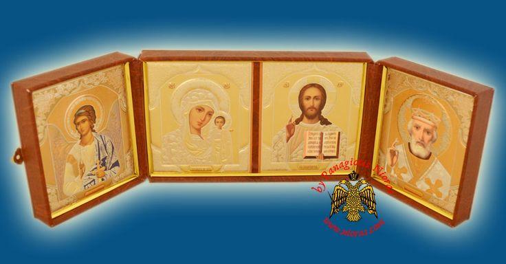 Icon Triptych Russian Orthodox Style 13x21x5cm