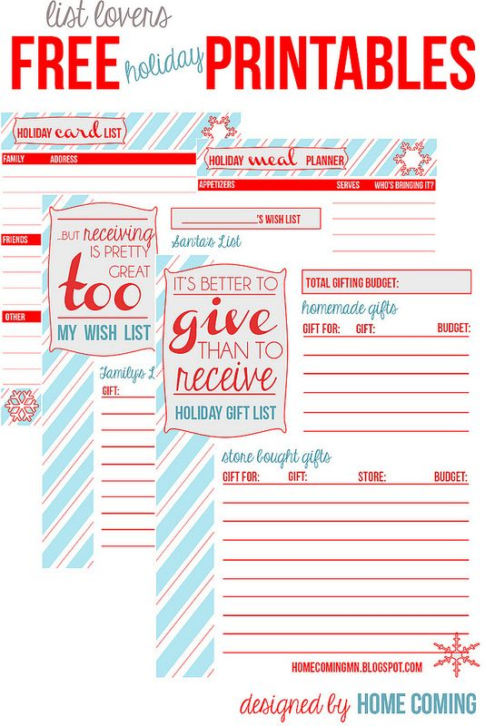 386 best Printables, Binders, Planners Oh My images on Pinterest - christmas list templates
