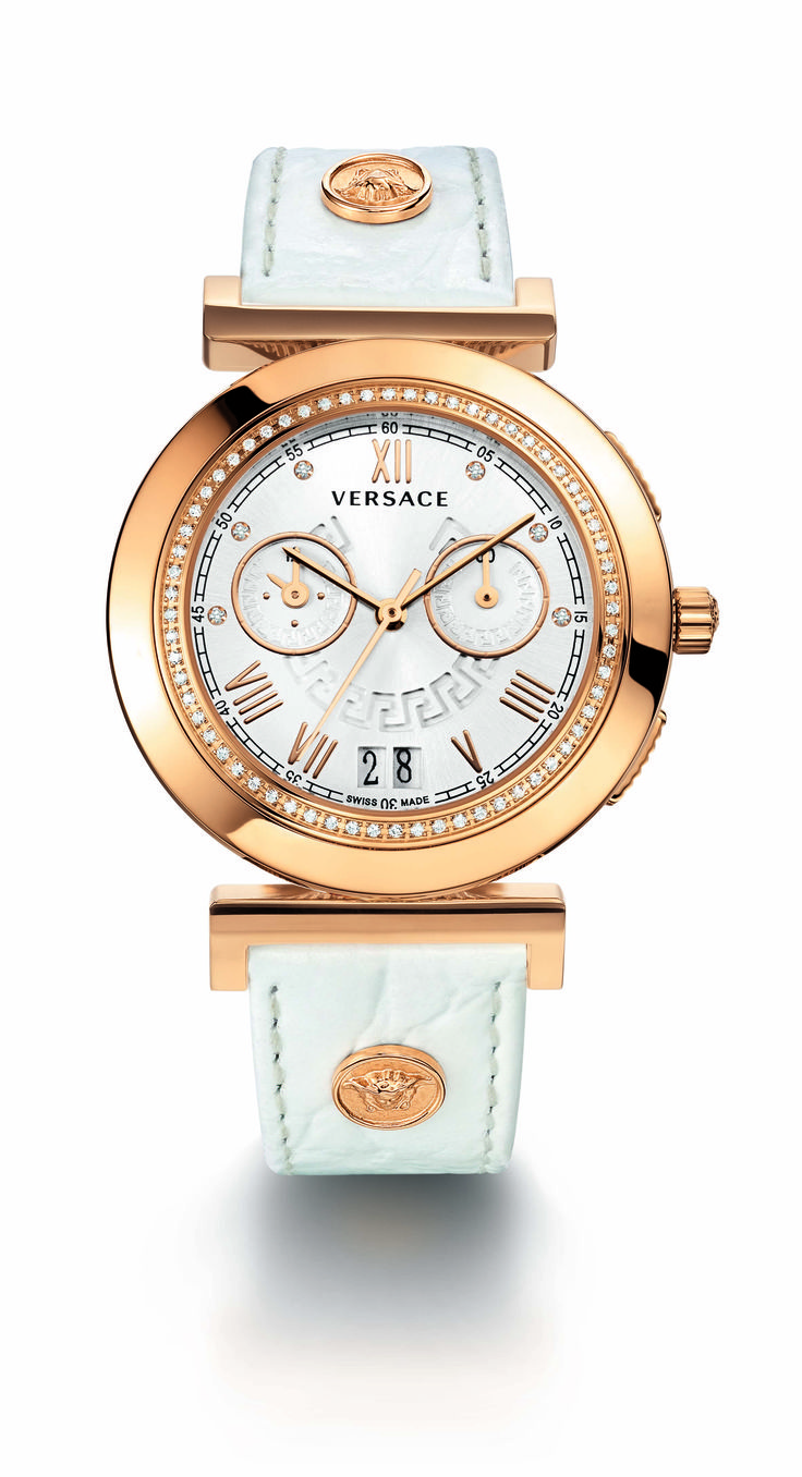 Versace - Vanity Chrono Collection For Women White and Gold الساعات ساعة