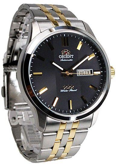Montre Homme Orient automatique FEM7P00CB, bracelet et boîtier en acier, cadran noir et doré.