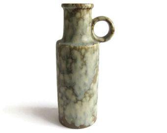 Modernist West German Pottery Vase Scheurich 401-28 Lava Green Marble