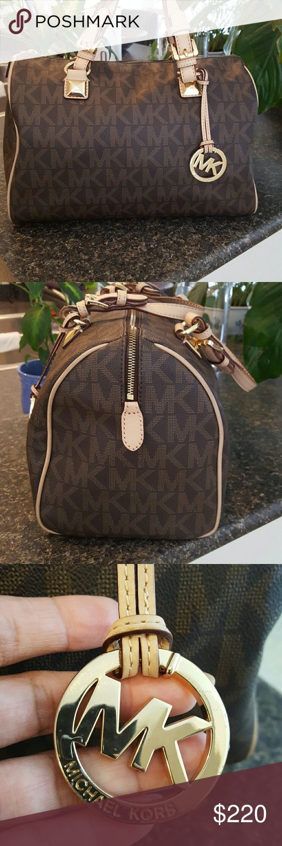 Spotted while shopping on Poshmark: Michael Kors Large Grayson  Signature Satchel! #poshmark #fashion #shopping #style #Michael Kors #Handbags
