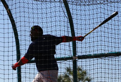 Via ESPN - Boston Red Sox's David Ortiz takes batting practice during a spring training baseball workout in Fort Myers, Fla., Sunday, Feb. 28, 2016. (AP Photo/Patrick Semansky)