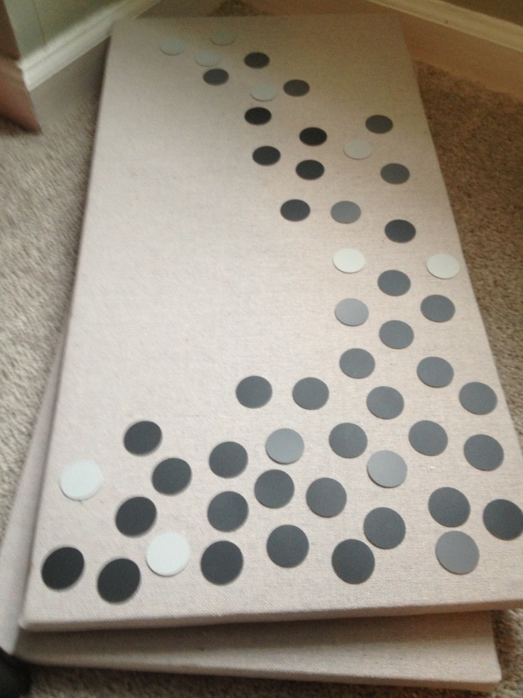 paint chip dots on drop cloth canvas the canvas drop cloth was cut and stapled