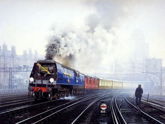 Art Train Journeys : Steam Train Painting by Howard Fogg  - Railroad  Art  : Steam Train Painting by Howard Fogg   26