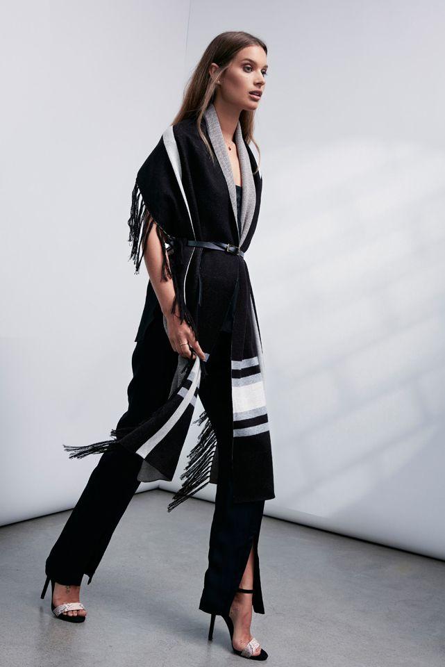 OnceWas: Koshi check scarf, Vitality leather trim silk cami and Mountain Pass split front crepe pant.