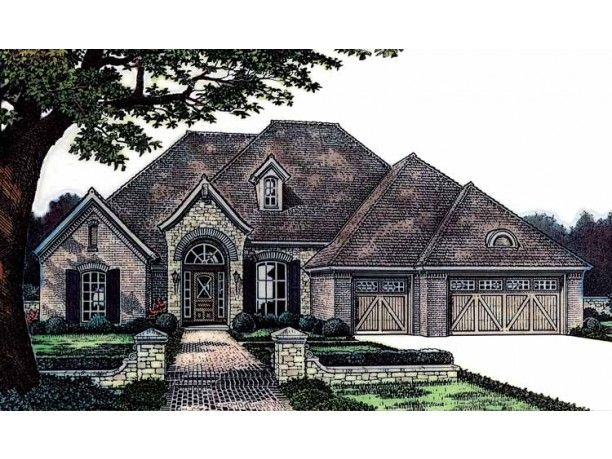 Front 3 car garage nice exterior look for the home for French country garage plans