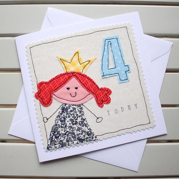 This cute, one-off, handmade 4th birthday card has been designed and made by myself using the technique of free motion machine embroidery. It is lovingly made to create a really special birthday card for a little one to celebrate their big day. Individual pieces of fabric have been cut out by hand and then machine stitched into position to create the princess and the number. The word today has been stamped by hand onto the fabric. The card is an original fabric design and is not a…