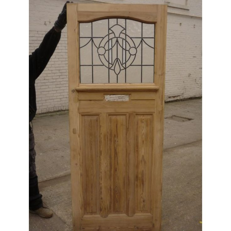 1930 Edwardian Stained Glass Exterior Door - Clear Textured Leaded Design