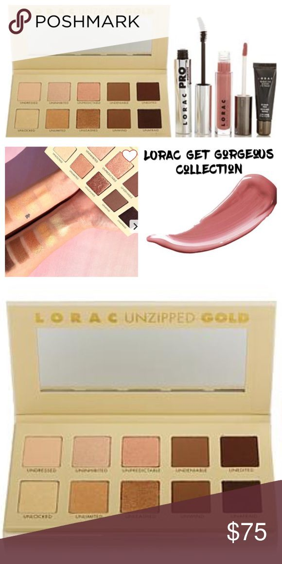 LORAC Get Gorgeous Collection Set PRODUCT DETAILS LORAC Get Gorgeous Collection Upgrade your glamour girl status when you play with this cool collection! A pretty palette of matte and shimmer shadows lets you experiment with your eyes while a universal mascara and lip gloss give you a fabulous finish.   What You Get  .13 oz. Alter Ego Lip Gloss - Duchess .39 oz. Mini Behind The Scenes Eye Primer .39 oz. Unzipped GOLD Palette .42 oz. PRO Lash Pomade Mascara - Black Makeup Eyeshadow