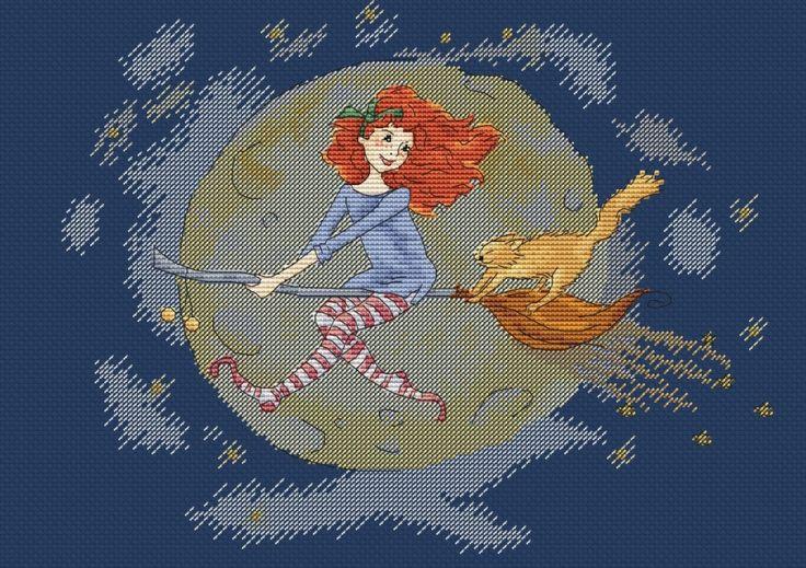 Амели на метле, схема для вышивки, арт. МЕ-006 Екатерина Мешкова | Купить онлайн на Mybobbin.ru