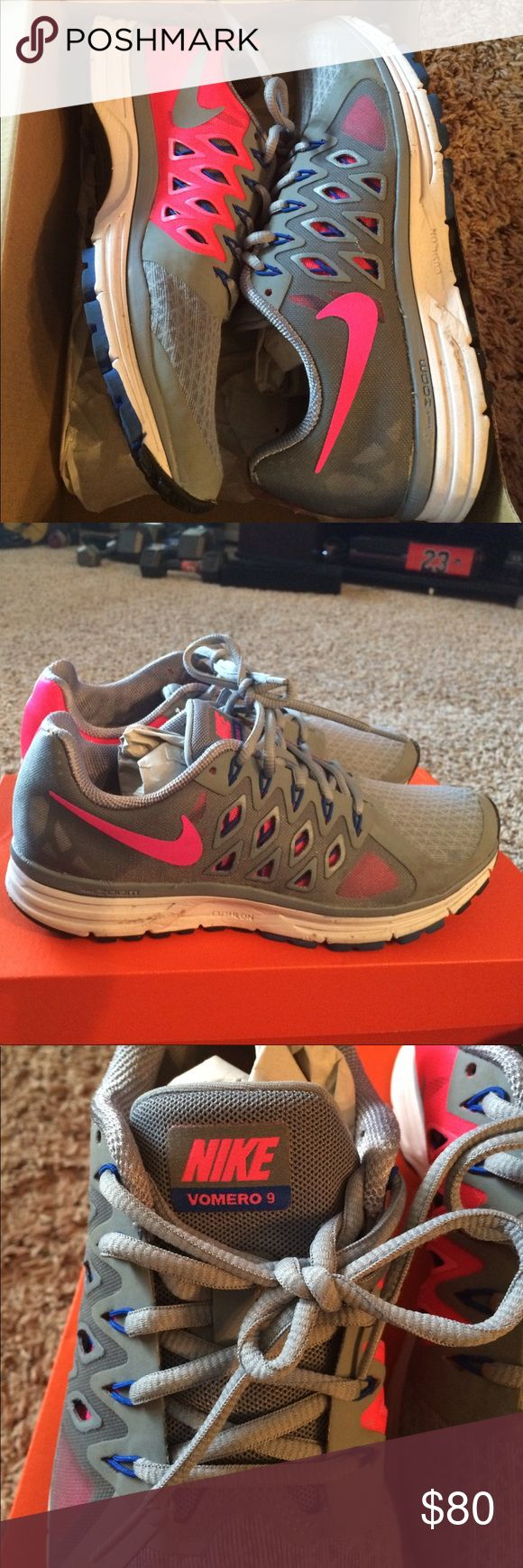 Women's Nike Vomero 9 Fitsole Size 8.5 Like New!  Worn twice for a marathon😊 Check this listing out on m e r c a r i.         Retails for $110 Nike Shoes Athletic Shoes