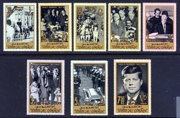 John F. Kennedy Stamps - Umm Al Qiwain, 1965 - Pres. Kennedy's funeral cortege leaving the White House; Mrs. Kennedy with children and Robert Kennedy following coffin; horse-drawn caisson; Presidents Truman and Eisenhower and Margaret Truman Daniels; Pres. Charles de Gaulle, Emperor Haile Selassie, Chancellor Ludwig Erhart, Sir Alec Douglas-Home and King Frederick IX; Kennedy's family on steps of St. Matthew's Cathedral; honor guard at tomb; and portrait of Pres. John F. Kennedy.