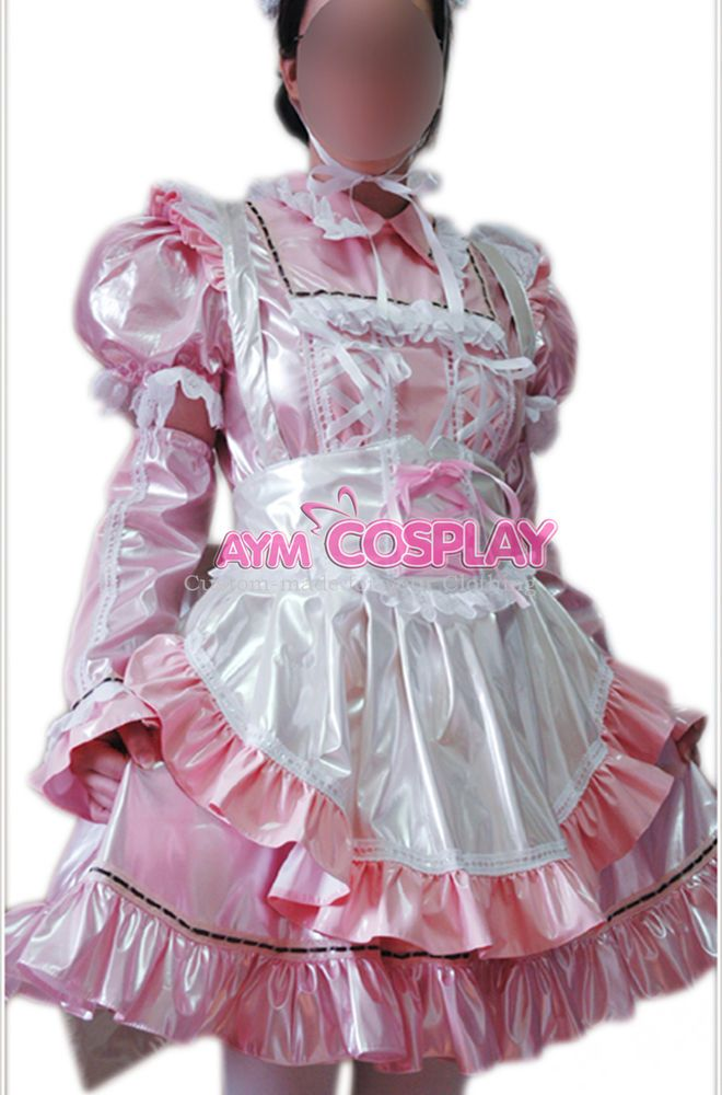pink PVC lockable sissy maid vinyl dress Unisex  tailor-made[CK949]  | eBay