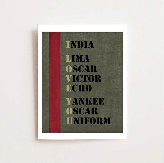 Military Love Quote Printable - Army Love - Military Alphabet Printable Art