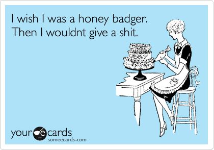 I wish I was a honey badger.