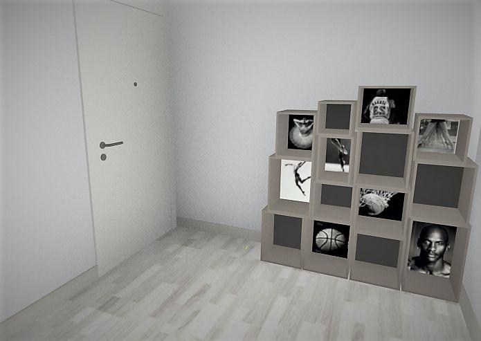 estanteria ballet u baloncesto hecha a medida para el recibidor del saln proyecto de