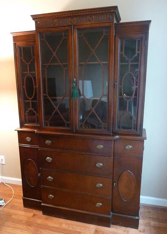 Antique Breakfront Desk Mahogany Cabinet Sheraton