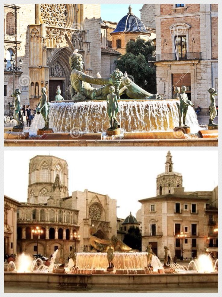 Plaza de la Virgen (a pedestrian square), next to the Basilica of the Virgin of the Helpless (day), Valencia, Spain.