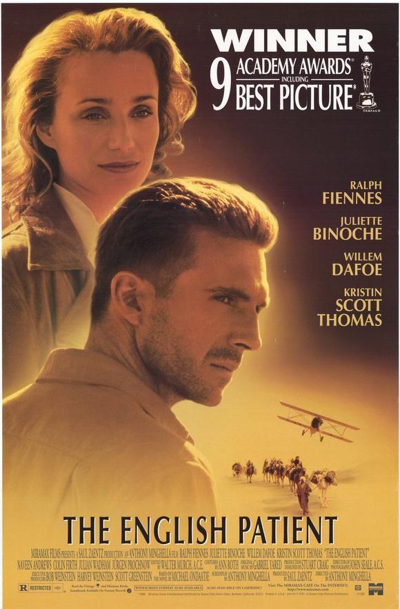 O Paciente Inglês ( 1996 ) - No final da Segunda Guerra Mundial, uma jovem enfermeira tende a uma vítima de acidente de avião mal-queimado. Seu passado é mostrado em flashbacks, revelando um envolvimento em um caso de amor fatídica