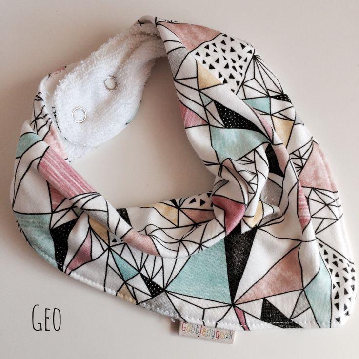 Comfort Fit Bandana Bib-  Organic cotton and bamboo, draped, knit, dribble bib - Geo