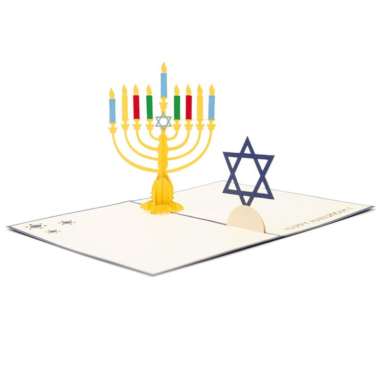 "Hanukkah Candles Pop Up Card  Hanukkah candles pop up card has a  navy cover that features the celebration of the Hanukkah. The image hints just a little at the sweet surprise inside. Wish your special someone a happy ""festival of lights"" with this beautiful love card. The die-cut design is shaped beautifully to create a big Hanukkah candle. We always leave the card blank so that you can personalize your own words."