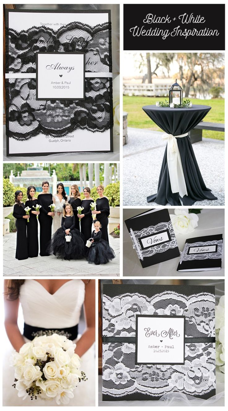 Black and white lace wedding invitations by always, by amber