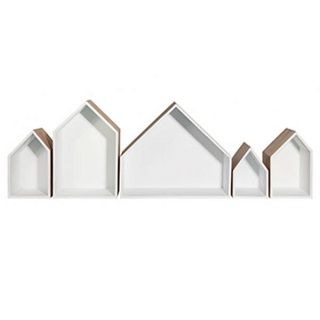 ROW OF HOUSES (SET OF 5) - $199.95 - A set of 5 assorted sizes, house shadow boxes.  Offering a space to display all your collectibles in a unique eye catching display.  Made from hard wood timber and painted white inside to create a unique effect. #sweetcreations #shoptheblog #bedroom #kids #decor #generaleclectic