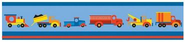 Boys Like Trucks Wallpaper Border www.teelieturner.com  Brighten baby's room with this cute and colorful baby blue wall border that features lots of cool trucks in lots of brilliant hues between stripes of deep blue at the top and deep blue and red at the bottom. A beautiful complement to your nursery, we know you'll love it! $31.00 #littleboysroom